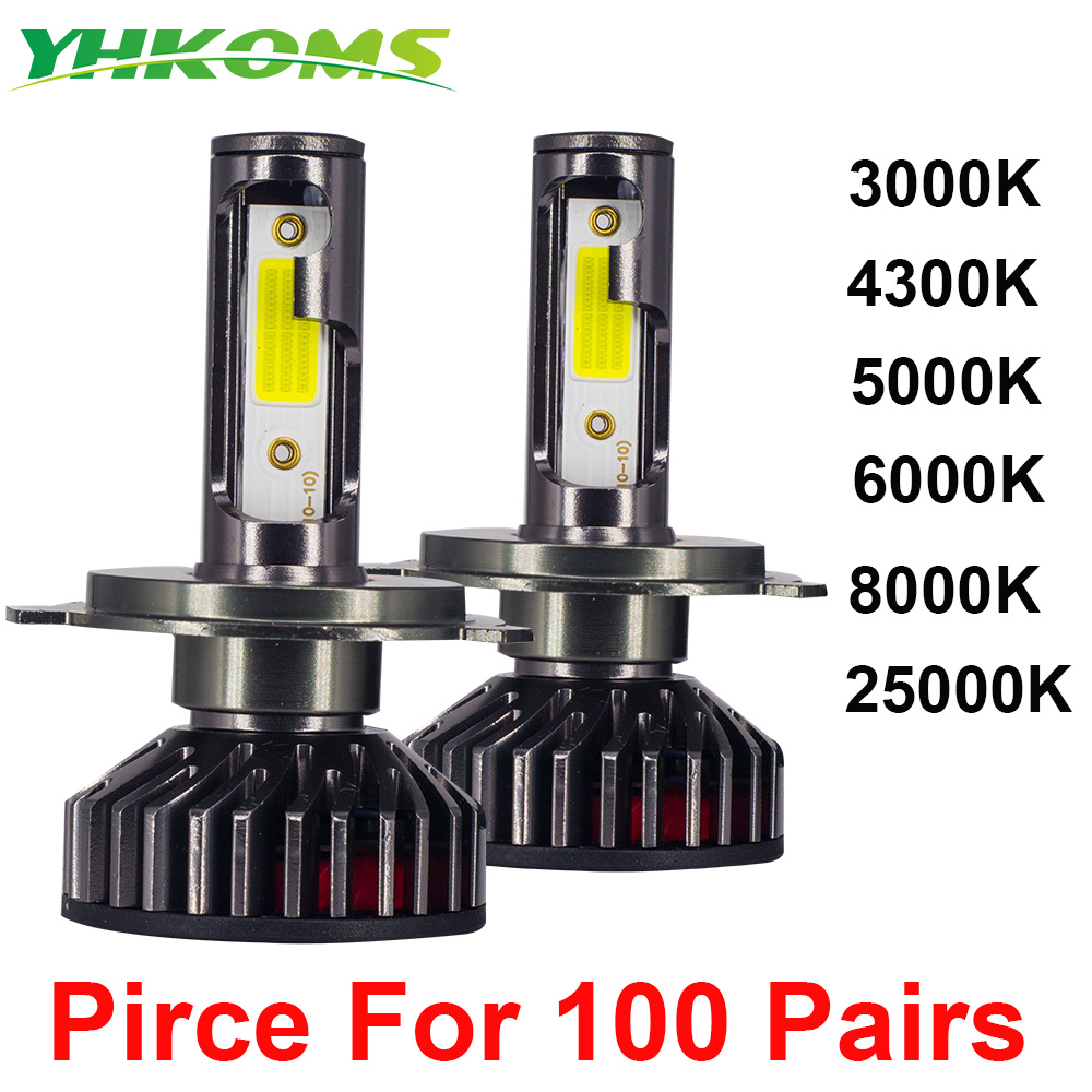 YHKOMS 100 Paires En Gros H4 H7 LED Mini H1 H7 H8 H9 H11 9005 HB3 9006 HB4 Voiture phare LED 3000K 4300K 6000K 5000K 8000K 12V