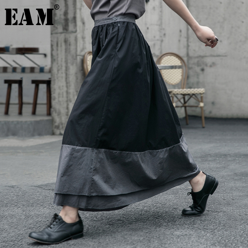 [EAM] High Elastic Waist Black Gray Split Double Layers Split Half-body Skirt Women Fashion Tide New Spring Autumn 2020 1R607