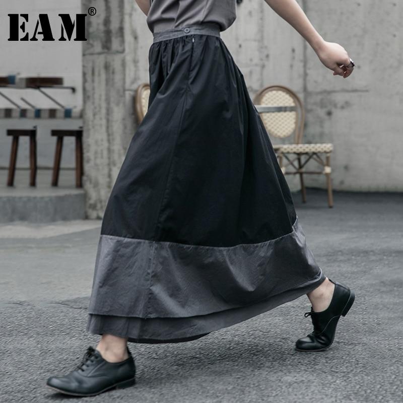 [EAM] High Elastic Waist Black Gray Split Double Layers Split Half-body Skirt Women Fashion Tide New Spring Autumn 2020 1R607