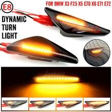 2 adet sıralı dinamik akan LED yan işaretleyici işık dönüş sinyal ışığı flaşör BMW E70 X5 F25 X3 E71 X6 2007 2013