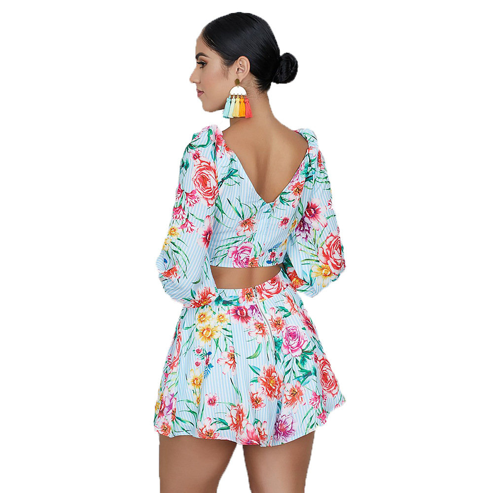 2019 New Style Europe And America WOMEN'S Suit AliExpress Fashion Sexy Split Type Backless Two-Piece Casual Wear