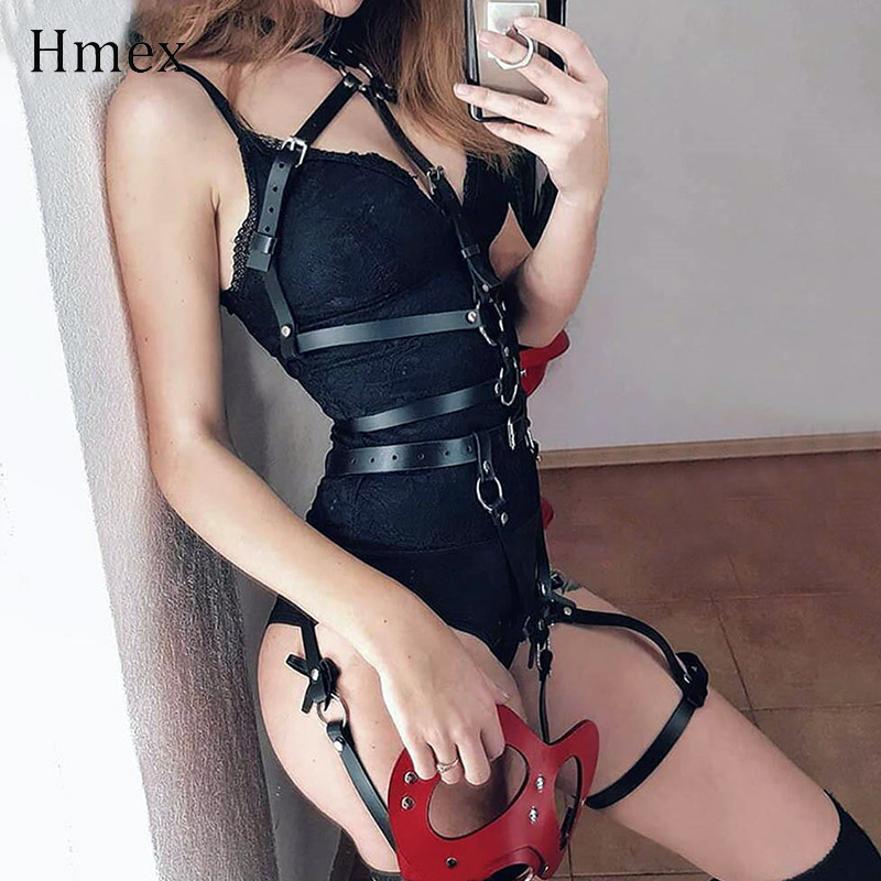 Punk Leather Suspender For Women Harness Body Leg Garter Belt Gothic Garters Sexy Bondage Cage Strap Harajuku Belts
