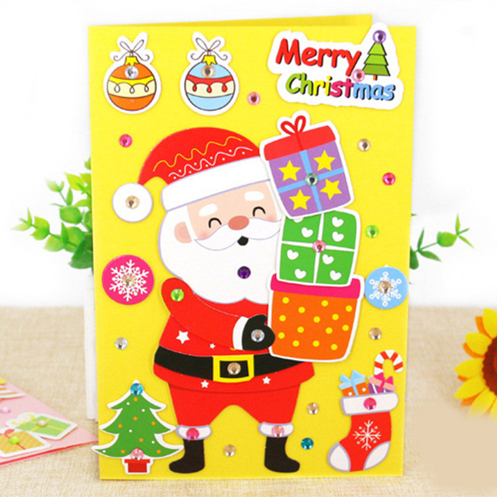 5 Pcs Handmade DIY Christmas Card Children 3D Greeting Card Craft Educational Toy Kindergarten Baby Santa Claus Snowman Toy Gift