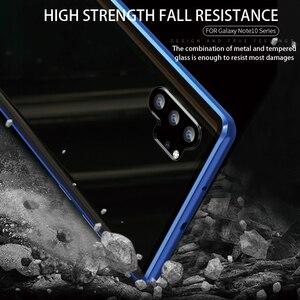 Image 5 - Adsorpcja magnetyczna do Samsung Galaxy Note 10 Plus obudowa metalowa rama dwustronne szkło hartowane Ultra Slim, odporna na wstrząsy pokrywa