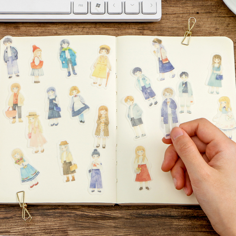 20sets/lot Kawaii Stationery Stickers Cartoon Girl Boy Diary Planner Decorative Mobile Stickers Scrapbooking DIY Craft Stickers
