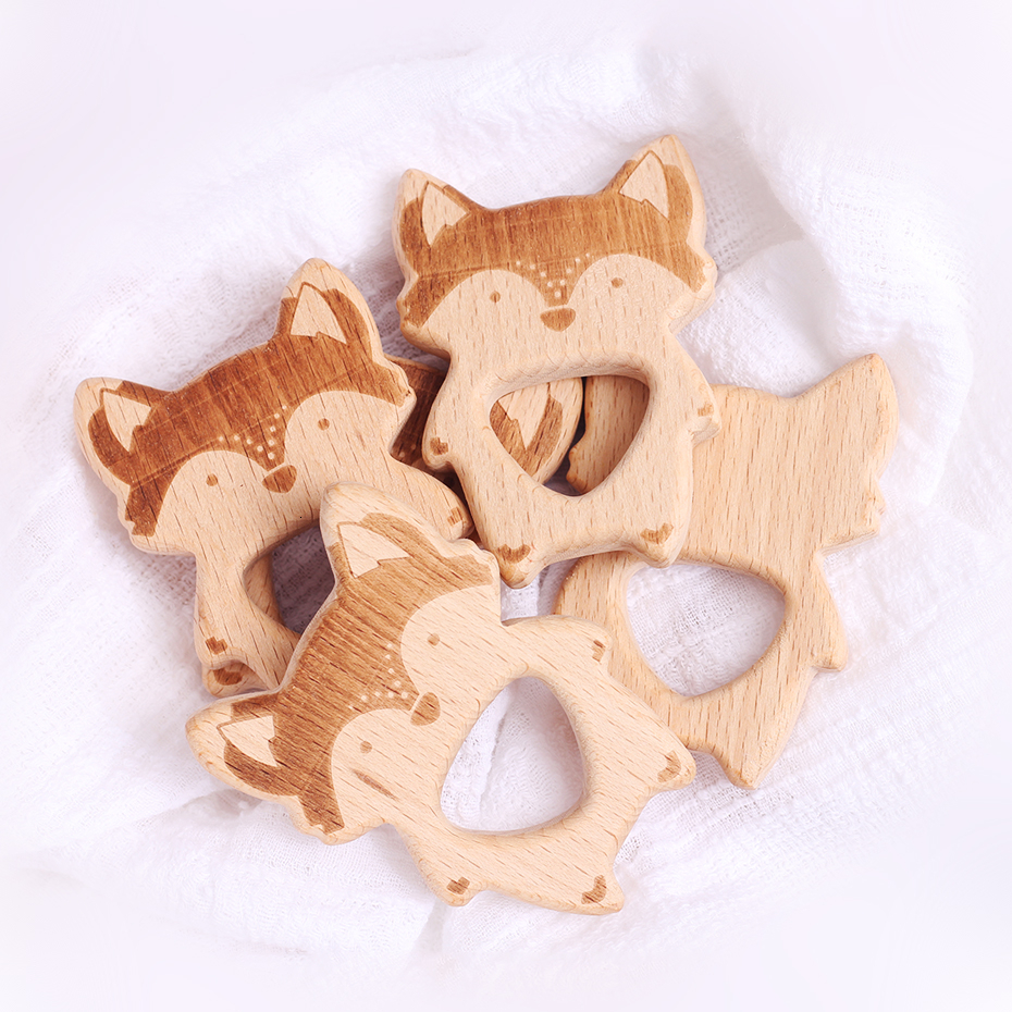 3pc Organic Beech Wooden Fox Natural Handmade Wooden Teether DIY Wood Personalized Pendent Eco-Friendly Safe Baby Teether Toys