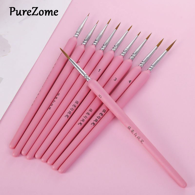 10Pcs/set Wolf Hair Hook Line Pen Fine Paint Brush Pen Set Artist Watercolor Acrylic Painting Brush Art Drawing Supplies