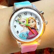 Disney princesa elsa crianças assistir spiderman colorido fonte de luz meninos meninas crianças festa presente relógio pulso relogio feminino