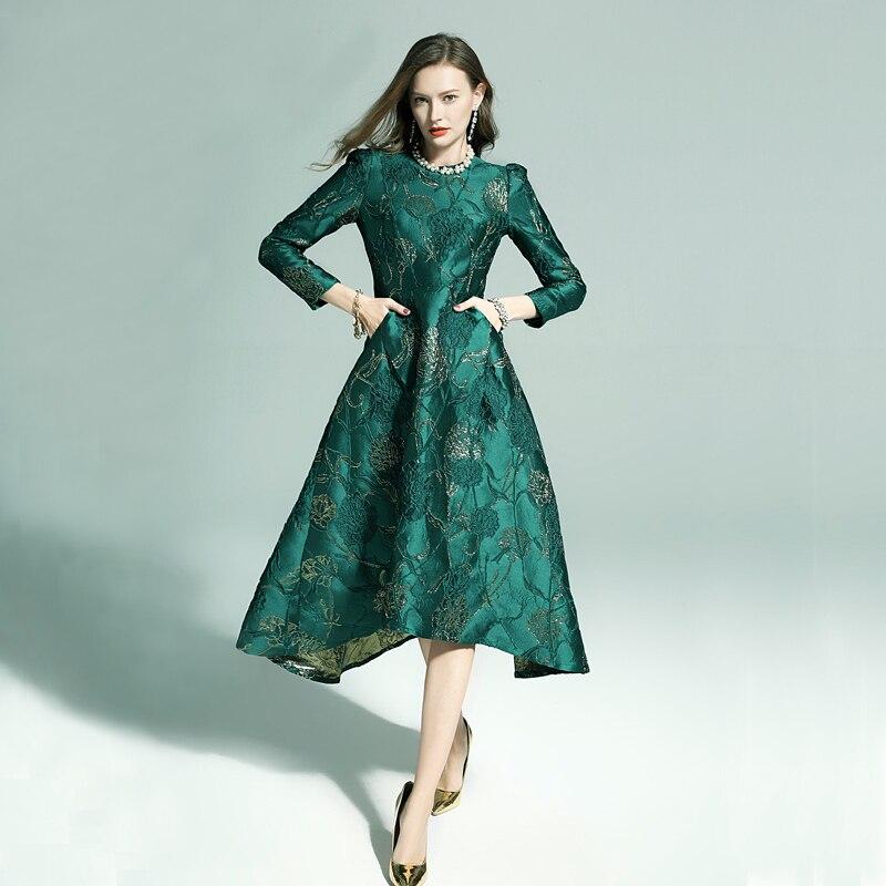 Vestidos Frauen Mode Langarm Herbst Winter Kleid Party Floral Elegante Jacquard Dame Promi inspiriert swallow tail Kleid-in Kleider aus Damenbekleidung bei  Gruppe 3