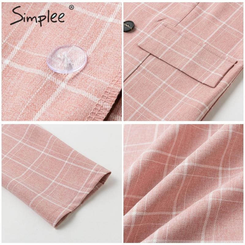 Ha4291b58b9144f099b26a86128bbc4317 - Simplee Fashion plaid women blazer suits Long sleeve double breasted blazer pants set Pink office ladies two-piece blazer sets