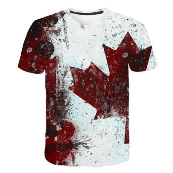 Бренд Канада флаг печать 3D красный клен Футболка мужская мода короткий рукав летние футболки повседневные Канада Флаг Смешные топы тройники Homme