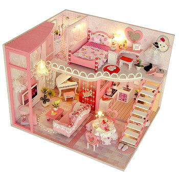 цена на CUTEBEE Doll House Miniature Dollhouse With Furniture Kit Wooden House Miniaturas Toys For Children New Year Christmas Gift