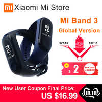 In Lager Xiao mi mi Band 3 Smart Armband Fitness Armband mi Band 3 Großen Touchscreen OLED Nachricht Herz rate Zeit Smartband