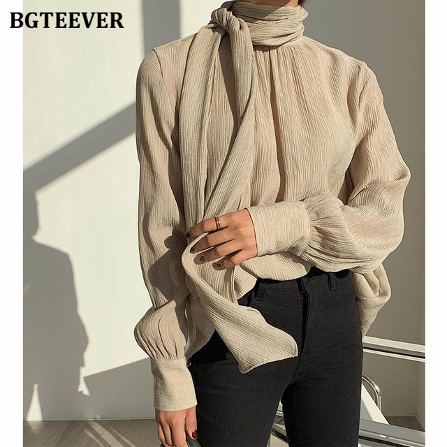 Winter O-neck Solid Blouse  1