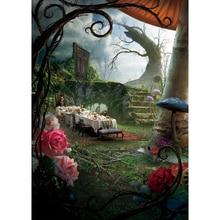 Plano de fundo para fotografia alice no país das maravilhas cogumelo fundo de foto conto de fadas para estúdio fotográfico festa de crianças