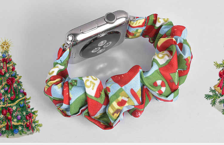 Scrunchie ยืดหยุ่นสำหรับ Apple นาฬิกา Series 5 4 3 2 สายคล้องคอ 38 มม.40 มม.42 มม.44 มม.สำหรับ iWatch 5 4 3 2 1 คริสต์มาสของขวัญ