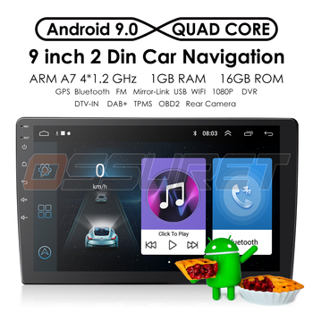 Android 9.0 4G Car Radio for Universal Player GPS Navi 2 Din Car 9 Inch Touch Screen OBD2 SWC Autoradio 1080P Video Multimedia image