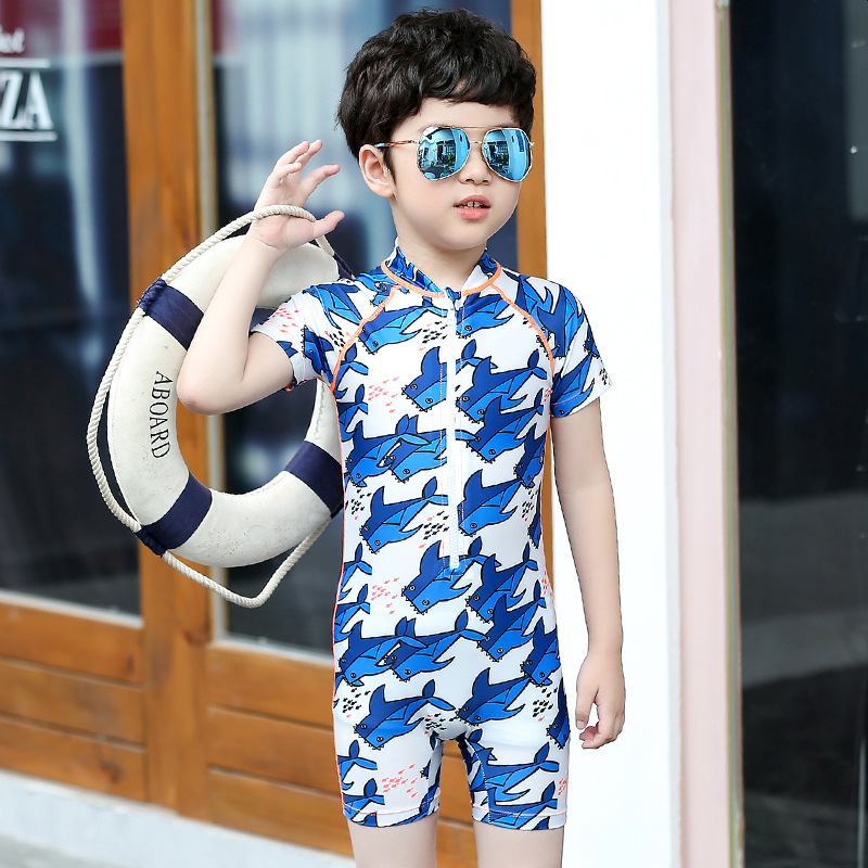 2018 New Style Sbart Casual Men And Women Children CHILDREN'S Cartoon One-piece Short Sleeve Bathing Suit Tour Bathing Suit