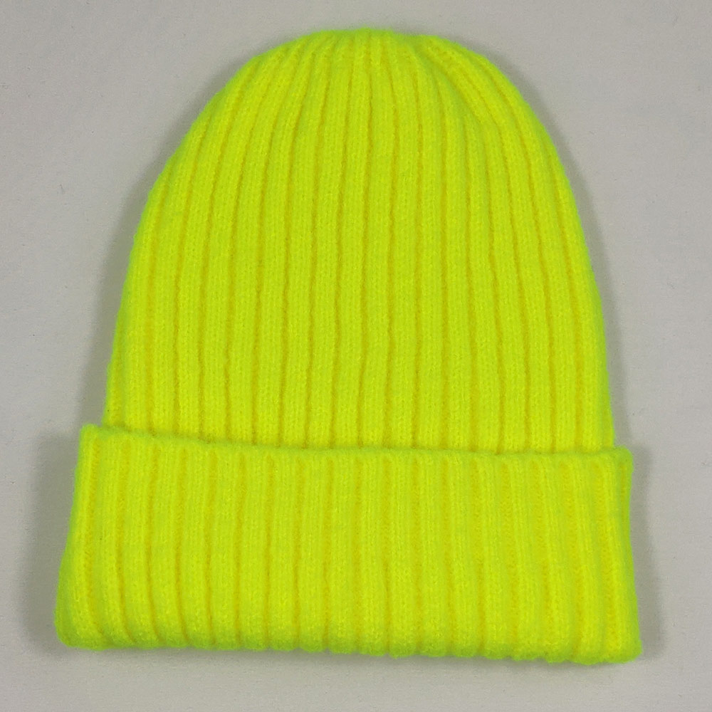 Bright Color Solid Knit Skull Beanie Women Men's Cuff Warm Winter Hats Plain Toques Neon Yellow Neon Orange Green Burgundy
