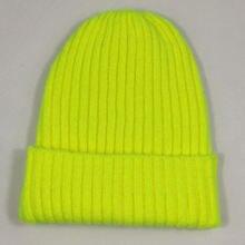 Cor brilhante sólido malha crânio gorro feminino manguito quente chapéus de inverno simples toques néon amarelo laranja verde borgonha