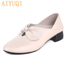 AIYUQI Genuine Leather Loafers Women Big Size 42 43 Woman Autumn Cowhide Casual Shoes Bow