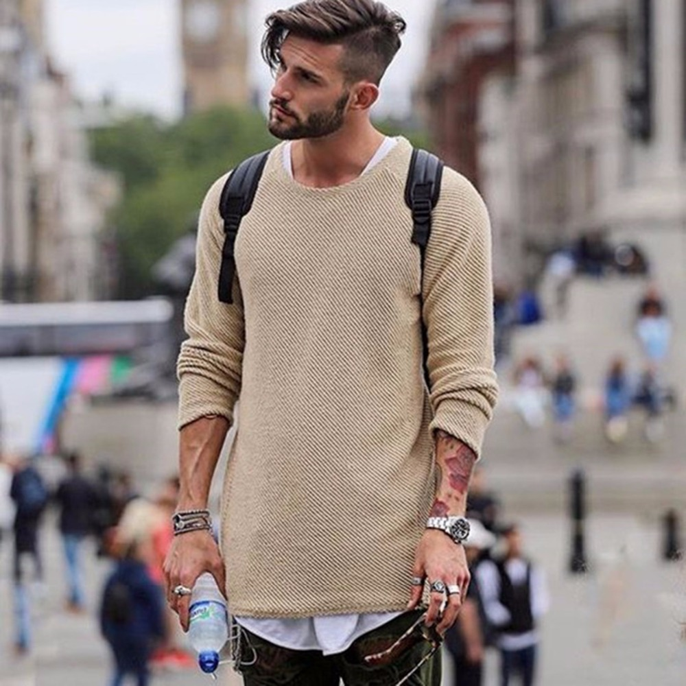 Men's Clothing NEW Sweaters Autumn Winter Knitted Simple Style Pullover Casual Loose O-Neck Sweater Jumper Black Outerwear