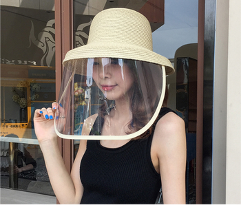 Sun Straw HatVirus Protective Face Mask Anti-saliva Dust-proof Full Face Shield Mask Safety Protection Big Eave Fisherman Cap