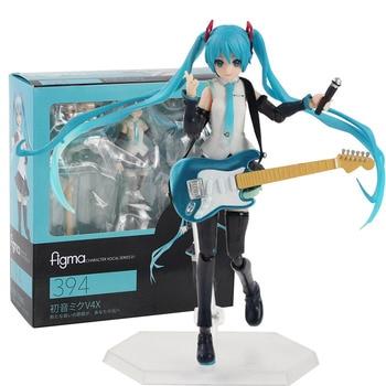 14cm Anime Hatsune Miku V4X Figma 394 móvil figura modelo juguetes de colección de PVC muñecas