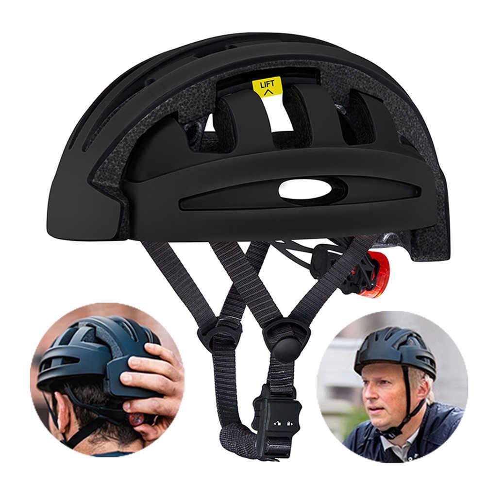 Casco de protección Unisex plegable de montaña bicicleta de carretera MTB equilibrio de ruedas Scooter casco de seguridad con luz trasera casco de ciclismo