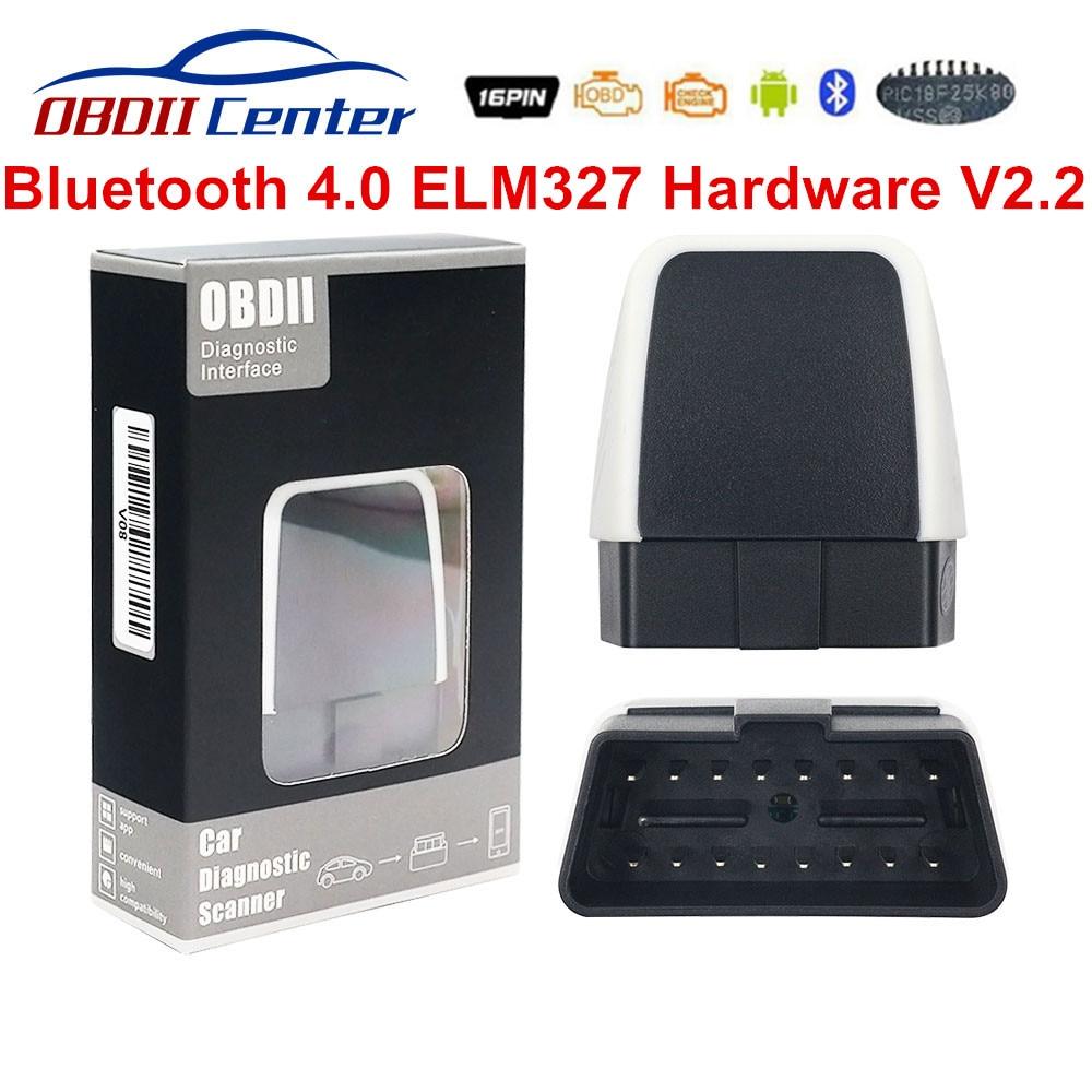Latest V2.2 ELM 327 Bluetooth 4.0 Adapter ELM327 Firmware 2.2 OBD2 Code Scanner IOS Andorid PC V08 Bluetooth 4 OBDII Interface