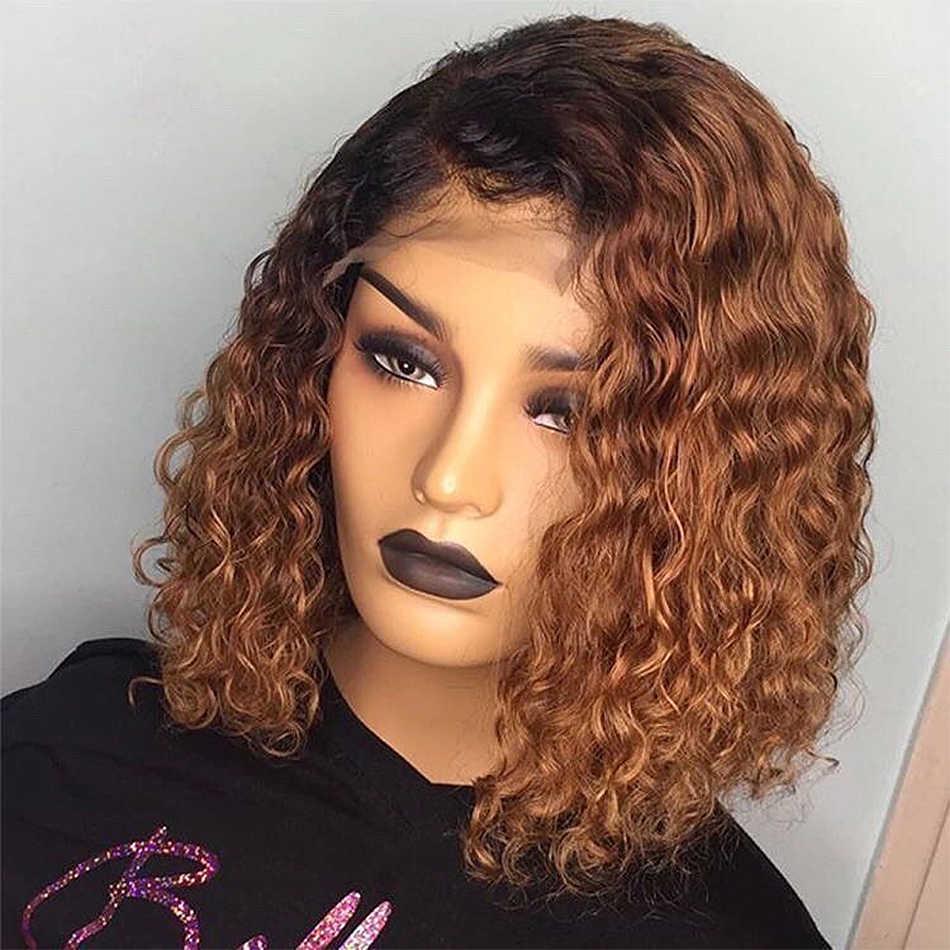 1B 27 kolor Ombre koronki przodu włosów ludzkich peruk kręcone wstępnie oskubane brązowy brazylijski włosy 13x4 peruka z krótkim bobem dla czarnych kobiet 150% Remy
