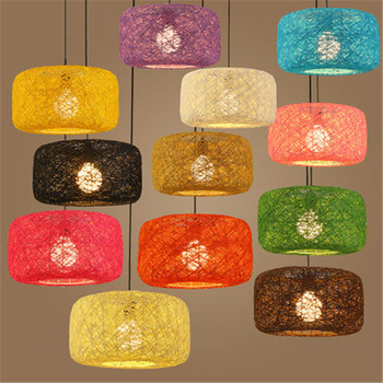 Various colors simple modern dining room lamp bamboo weaving lamp bar lamp sun table lamp hemp ball Chandelier Free Shipping free shipping modern bamboo work hand knitted bamboo pendant lamp good price pendant lamp with bamboo shades for dinning room