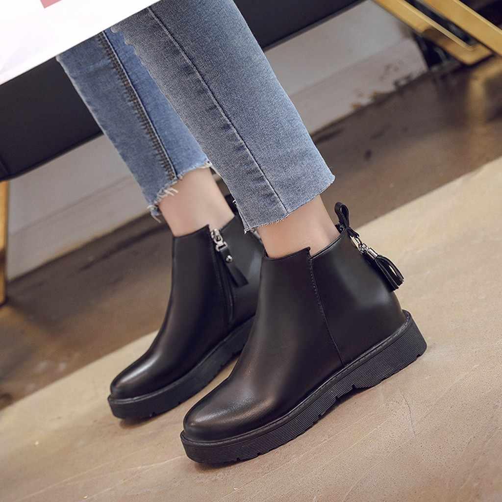 Stivali di pelle Con Frange Brevi Caricamenti Del Sistema di Modo delle donne Punta Rotonda stivali Con Zip alla caviglia per le donne con la piattaforma chaussures femme