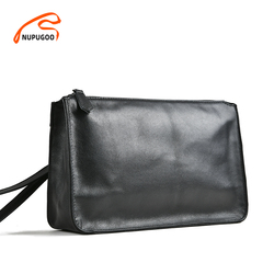 NUPUGOO Business Men Clutch Bag Genuine Leather Black Casual Large Capacity Purses High Quality Wallet Man Bag For 7.9 Inch Ipad