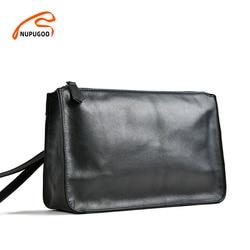 Nupugoo Business Mannen Clutch Bag Echt Leer Zwart Casual Grote Capaciteit Portemonnees Hoge Kwaliteit Portemonnee Man Tas Voor 7.9 Inch ipad