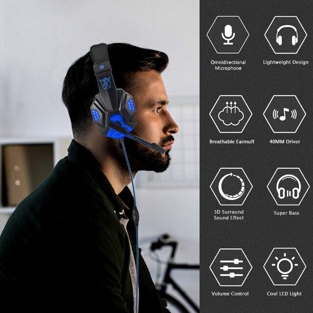 Profissional baixo gamer fones de ouvido com fio para ps4 switch xbox um gaming fone de ouvido com microfone led luz computador pc telefone fone de ouvido 2