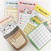 1 paczka (12 arkuszy memo + 1 arkusz naklejki) Kawaii wujek Cat Planner rekordy Do zrobienia lista notatnik szkolny biurowy zestaw papierniczy