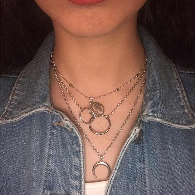 Bohemian Fashion Moon Circle Map Pendant Necklace for Women Jewelry Earth Choker Multilayer Bijoux Collares Mujer Collier Femme 1