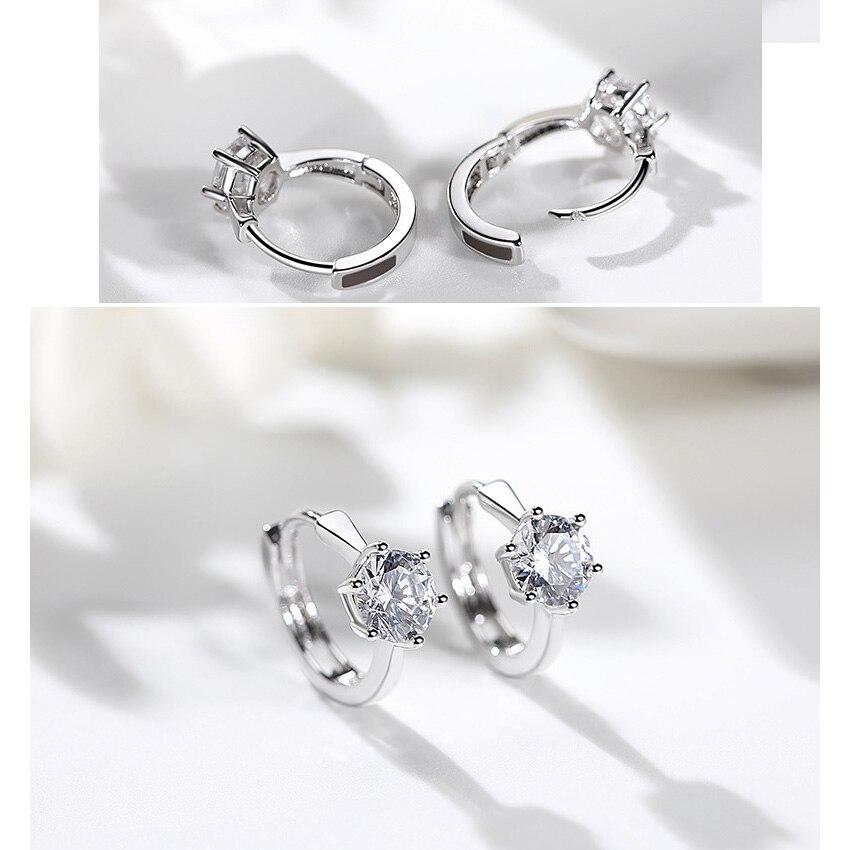 ZHOUYANG Stud Earrings For Women Classic Six Claw Clear AAA+ Shiny Zircon Rose Gold Color Fashion Jewelry For Girls KAE094 2