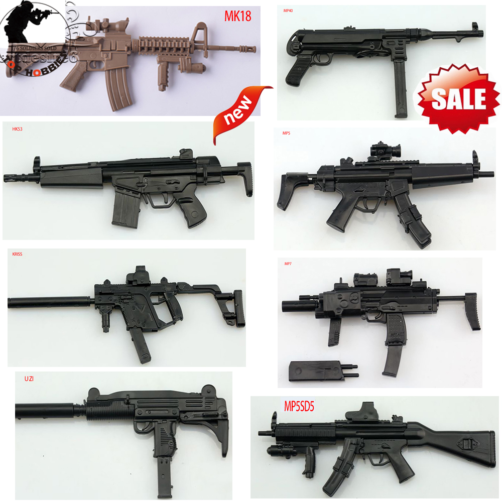 1/6 Sca 1:6 Gun Model Mp40/MP5/MP5SD5/HK53/MK18/KRISS/MP7/UZI Rifle Submachine Paper Assemble Fit 12 Inch Soldier Action Figure