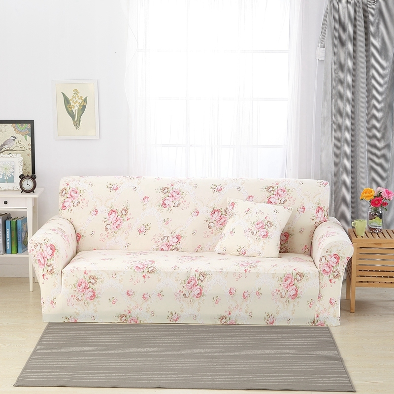 Vintage Garden Pink Flowers Print Stretch Sofa <font><b>Cover</b></font> Slipcovers Furniture Protector Polyester Spandex Soft Durable Couch <font><b>Cover</b></font> image