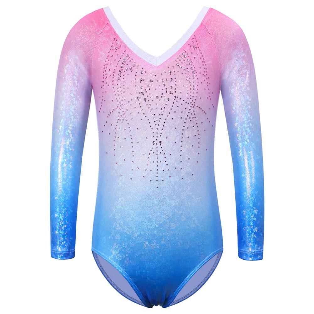 Baohulu faísca manga longa collant para meninas strass gradiente azul rosa ginástica roupas crianças bodysuit dança wear