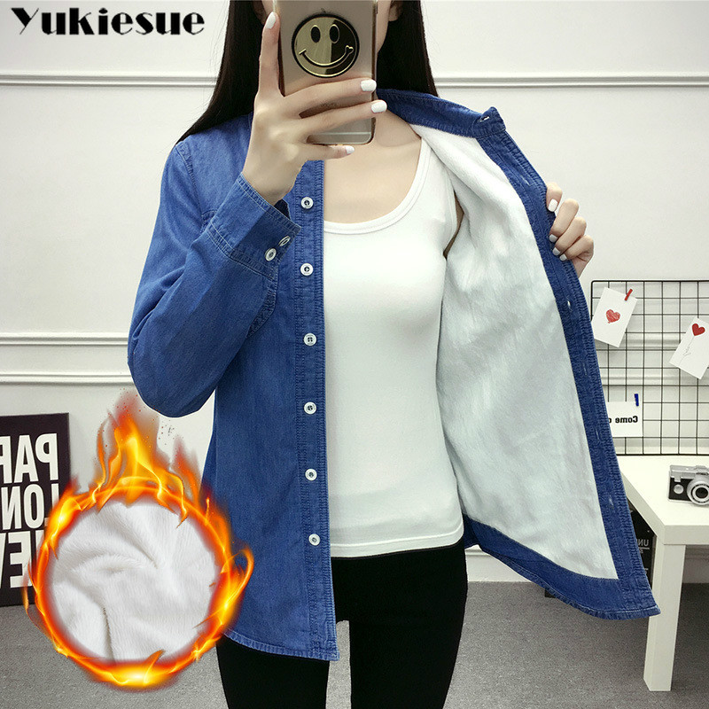 2019 Casual Winter Autumn Warm Thick Fleece Denim Blouses Women Ladies Tops Women Blouses Long Sleeve Shirt Plus Size S-3XL