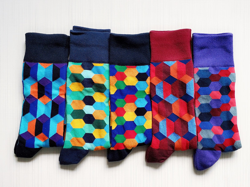Men's Happy Funny Geometric Socks  (Very Long)
