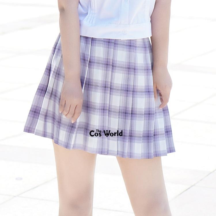 [Dream Purple] Girl's Summer High Waist Pleated Skirts Plaid Skirts Women Dress For JK School Uniform Students Cloths