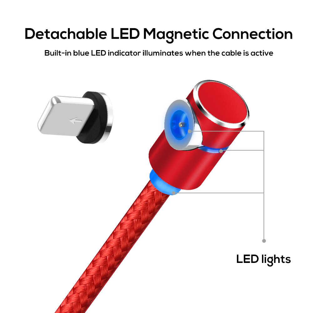 Starplat Magnetico Micro Cavo USB Angolo di 90 Gradi Intrecciato Cavo di Dati per Samsung/Sony/Xiaomi Android Del Telefono per iphone 6 7 8 x