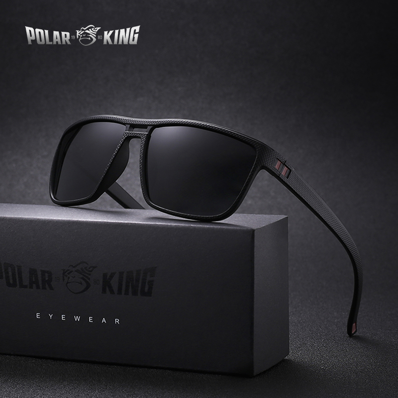 POLARKING Brand Retro Polarized Sunglasses For Men Plastic Oculos Men's Fashion Square Plastic Sun Glasses Driving Eyewear