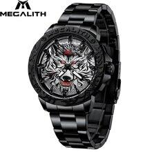 MEGALITH Männer Mode Wolf Kopf Geprägte Uhr Luxus Marke Edelstahl Armbanduhr Sport Army Military Quarz Uhren Uhr