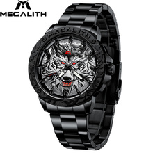 MEGALITH גברים אופנה זאב ראש בולט שעון יוקרה מותג נירוסטה שעון יד ספורט צבא הצבאי קוורץ שעונים שעון
