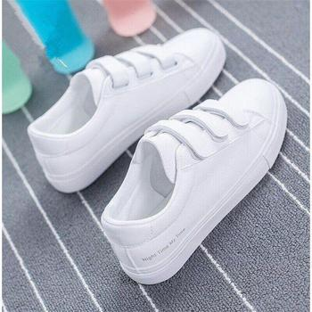 New Fashion Women Shoes Casual High Platform Hole PU Leather Striped Simple White Sneakers Woman
